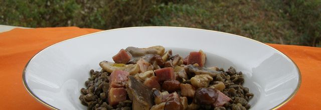 Lentilles vertes aux champignons et jambon - Indice glycémique bas