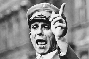 Goebbels Reproves Jewry for Voicing Protests