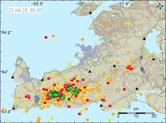 Péninsule de Reykjanes - séismes au 21.10.2020 / 06 h30 - Doc .IMO