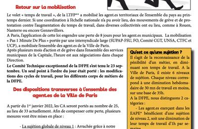 DFPE : modifications des cycles de travail des agent.es travaillant en EAPE