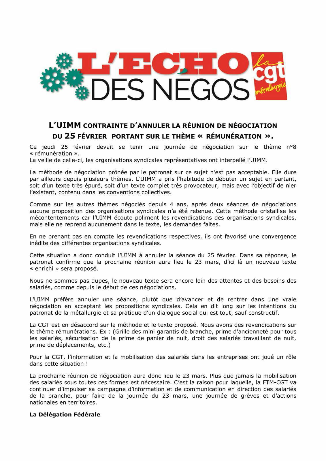Echos des négos de la Convention Collective Nationale