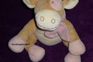 Doudou peluche vache Noukie's, 25 cm , beige rose, Rosalie - www.doudoupeluche.fr