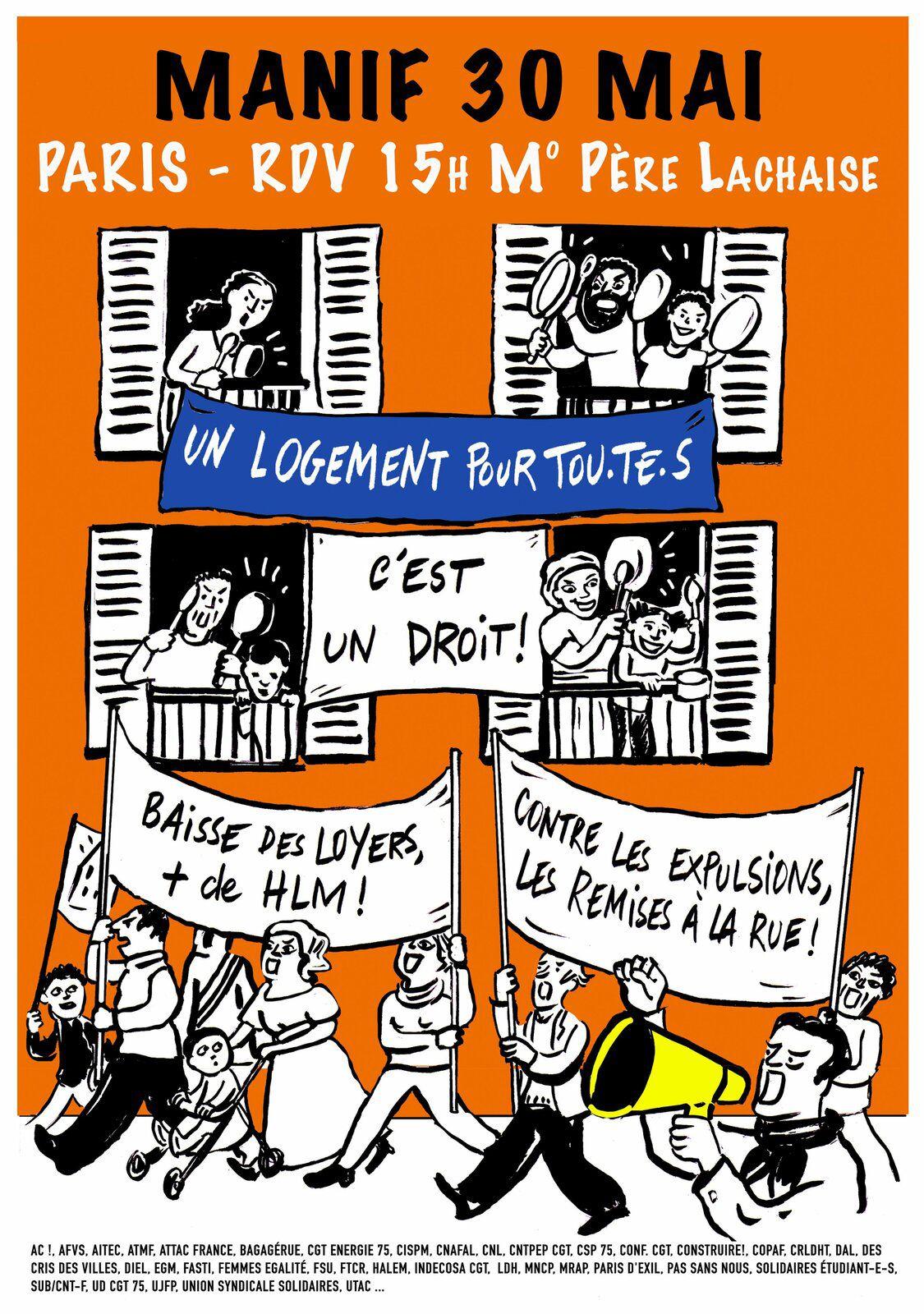 CONTRE LES EXPULSIONS, LES REMISES À LA RUE ET LE LOGEMENT CHER ! Manifestons le 29 et 30 mai