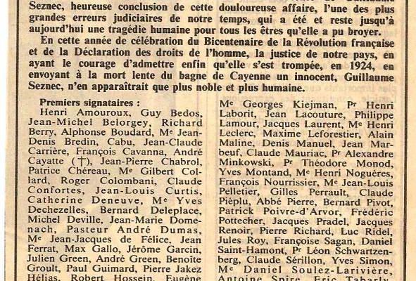 L'appel du 14 juillet 1989 pour la réhabilitation de Guillaume Seznec