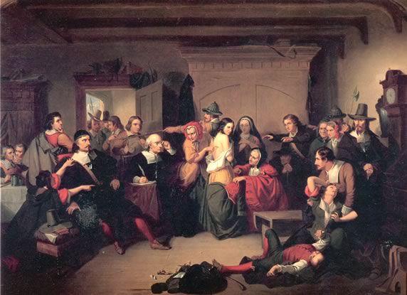 1853 ce n'est pas le Moyen-Âge, non ….Examen d'une sorcière pendant un procès par Thomkins H. Matteson en 1853. Bizarre de mêler les déraisons sorcières avec tous les Barrages truqués pour…empêcher la véridique émancipation des femmes (sorcières =  femmes émancipées mais oui ! Et elles l'étaient bien plus au vrai Moyen-Âge …que sous le règne régressif bourgeois !).
