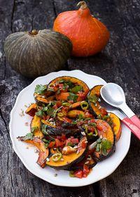 Courges rôties sauce vierge aux légumes