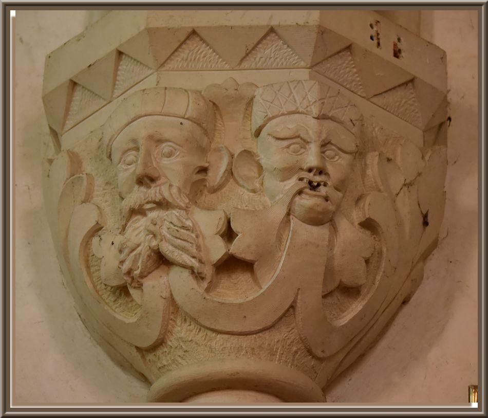 Eglise de Valcanville , des décorations des chapiteaux