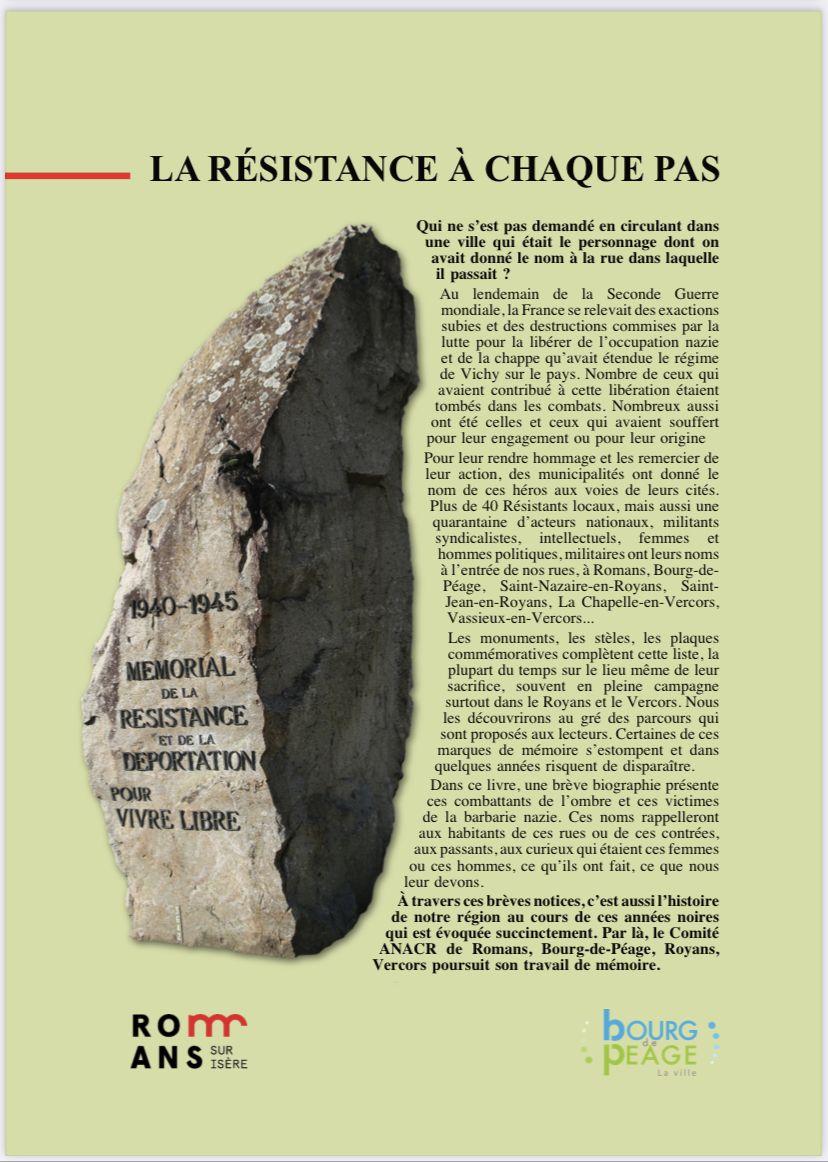 Disponible dès le 22 août 2021. En pré-vente à 10 € au profit de l'ANACR (Comité Romans, Bourg de Péage, Royans, Vercors)