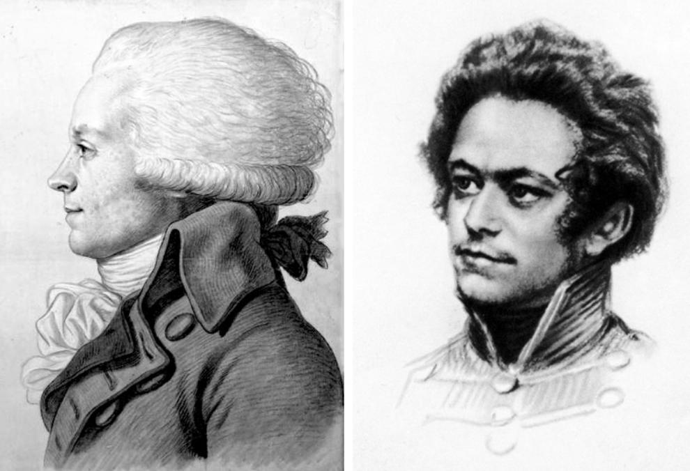 De gauche à droite : Robespierre ; Karl Marx.