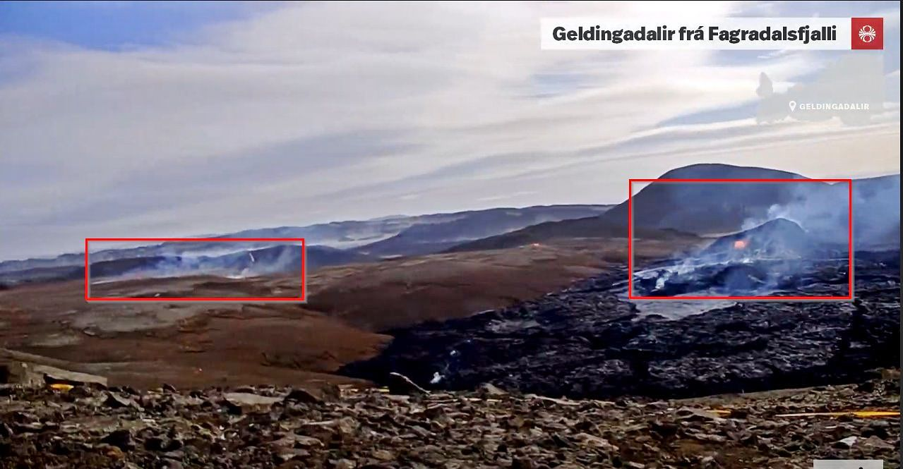 Reykjanes Peninsula - the two eruptive sites on 05.04.2021 in the early afternoon - RUV webcam - click on all the photos to enlarge