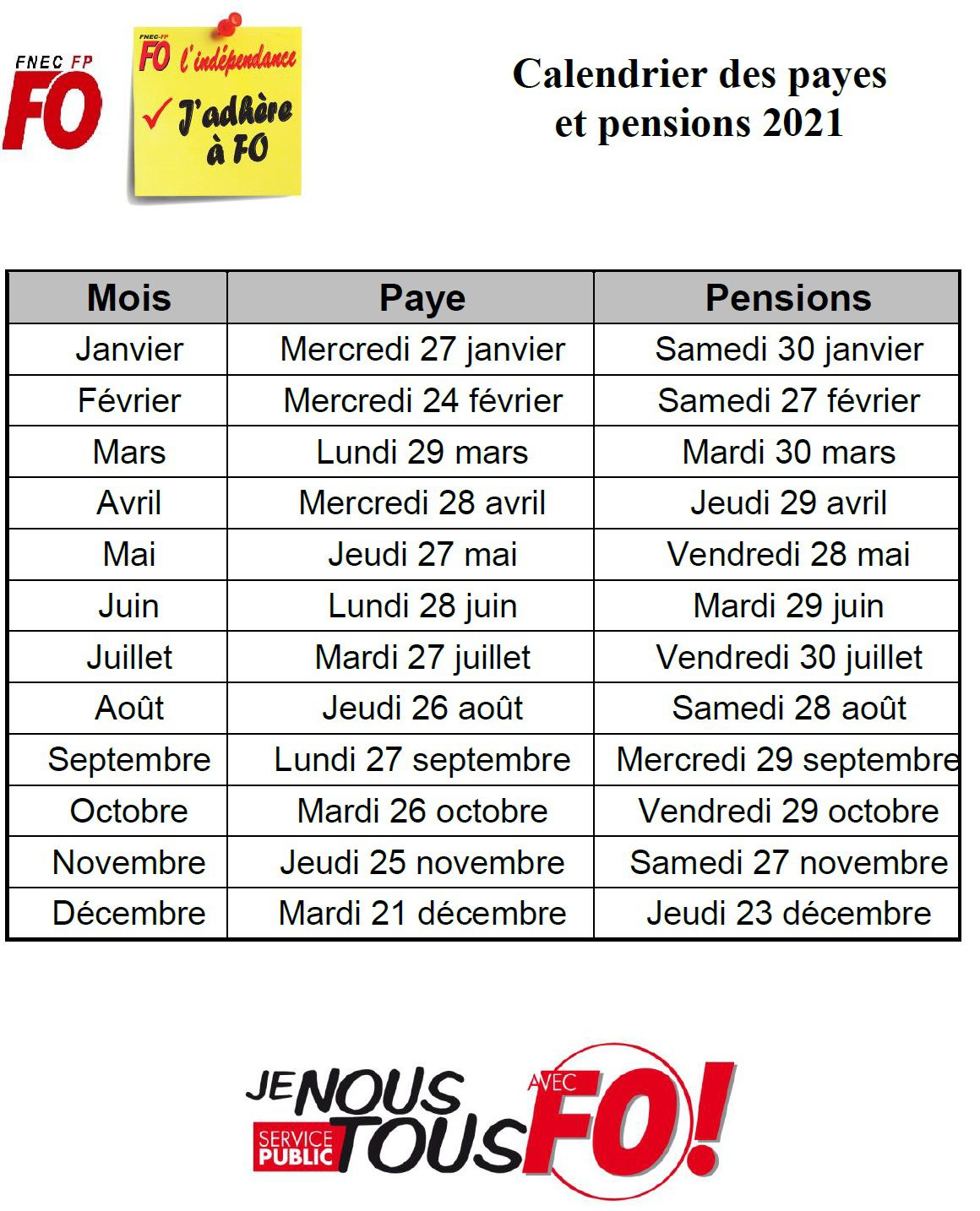 calendrier payes et pensions 2021