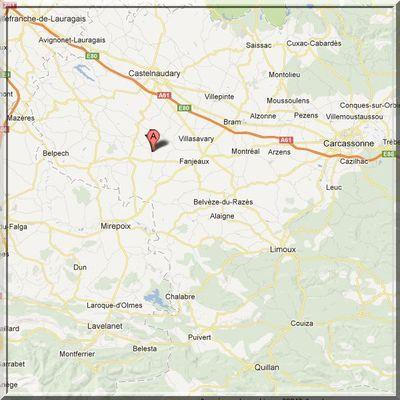Aude - Cazalrenoux - Position église fortifiée sur carte
