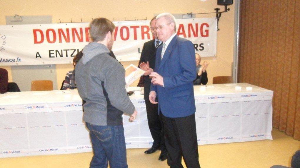 Notre 28ème AG s'est tenue le 17 février 2012 à la salle des fêtes d'Entzheim en présence d'une assistance nombreuse et de quelques personnalités. Merci à tous les participants et féliciatations à tous les médaillés !