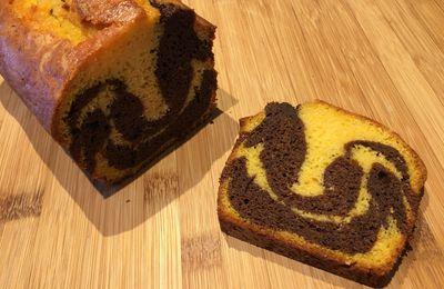 Cake marbré au chocolat et au potiron