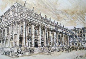 Tribute to Bordeaux, opéra national de Bordeaux ,dessin  A3 aux feutres