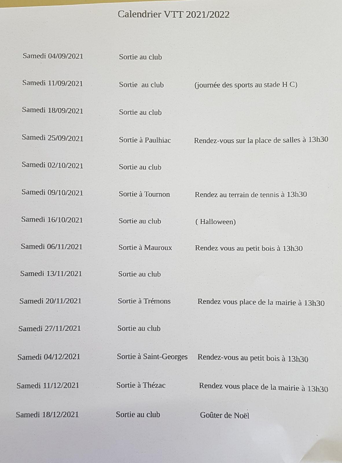 calendrier des sorties club