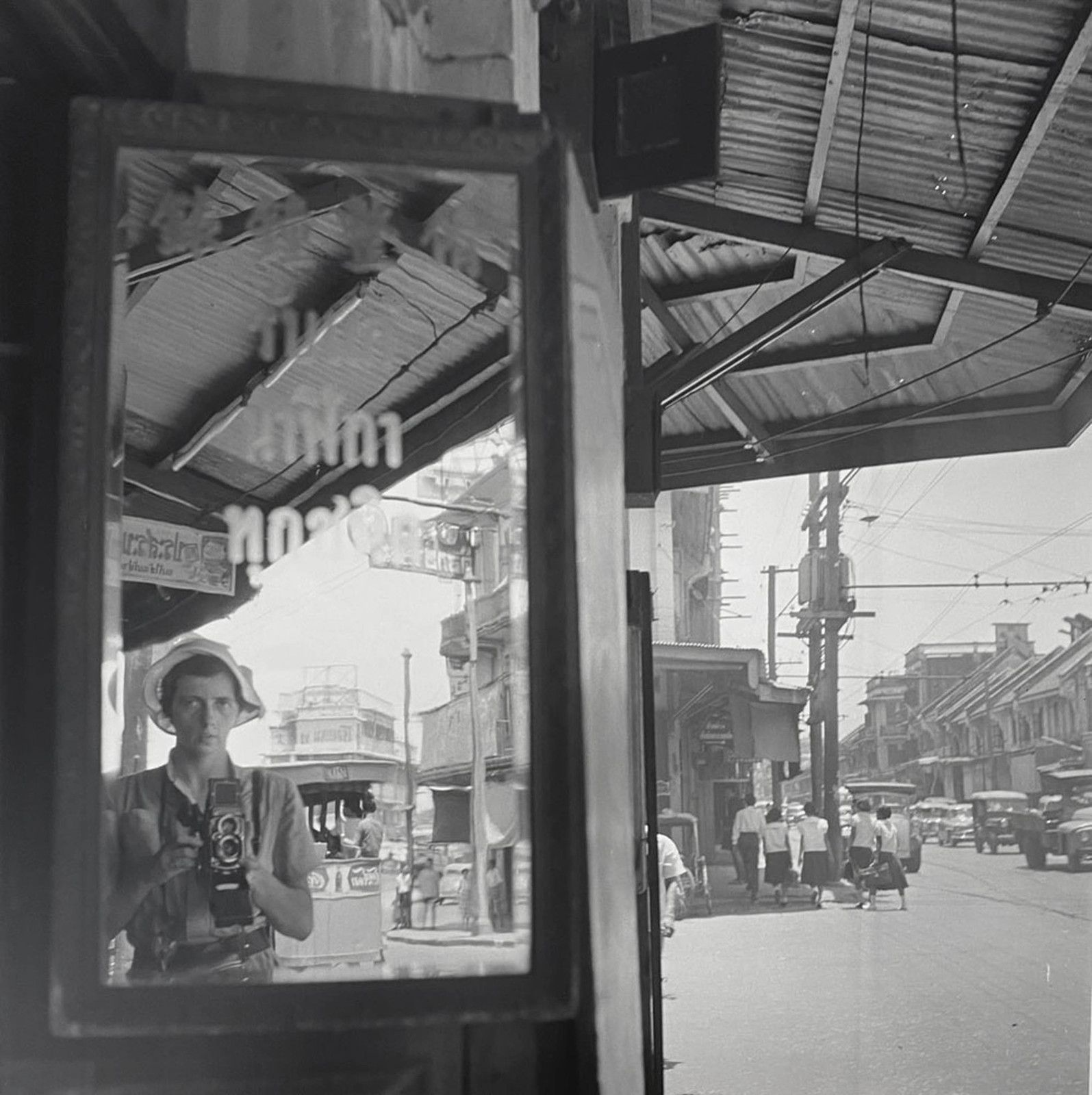"""Self-portrait, trip overseas"", 1959 de Vivian MAIER - Courtesy Les Douches la Galerie Paris"
