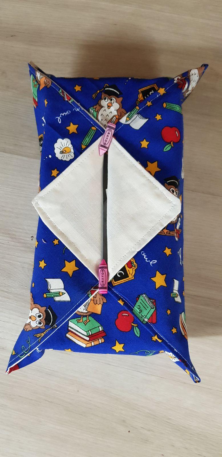 Comme chaque année  mes filles me sollicitent  pour le cadeau de fin d annee des maîtresses des enfants l année  dernière  c etait des essuis  mains personnalisés  cette année  c est des étuis pour boite a mouchoirs
