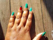 Nail-art vert et rouge