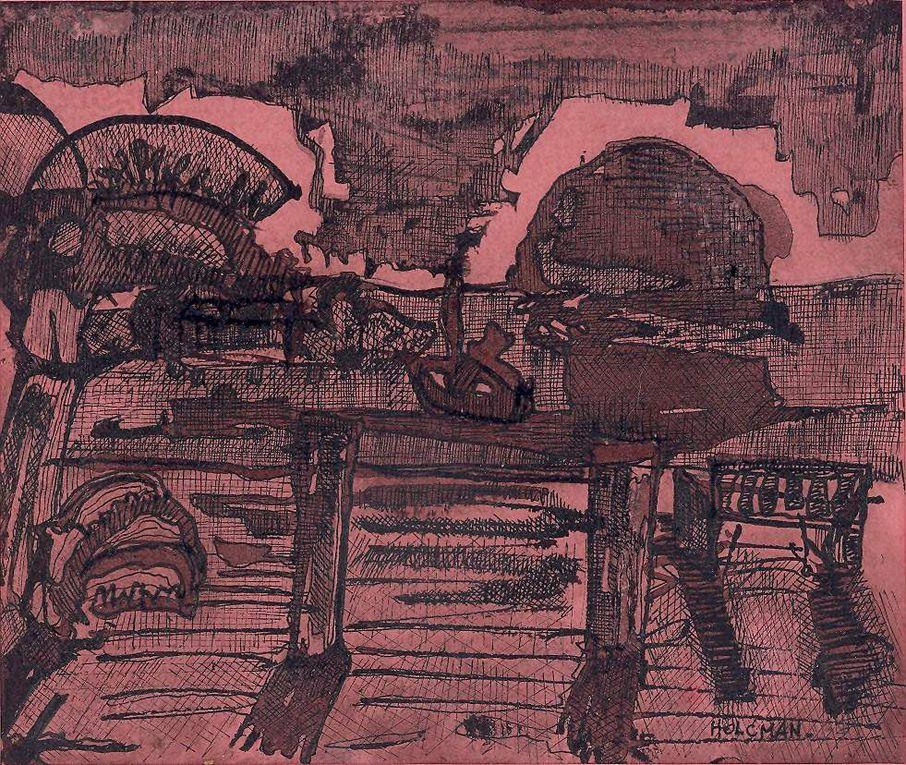 Encre noire sur papier lisse, 15 cm x 20 cm