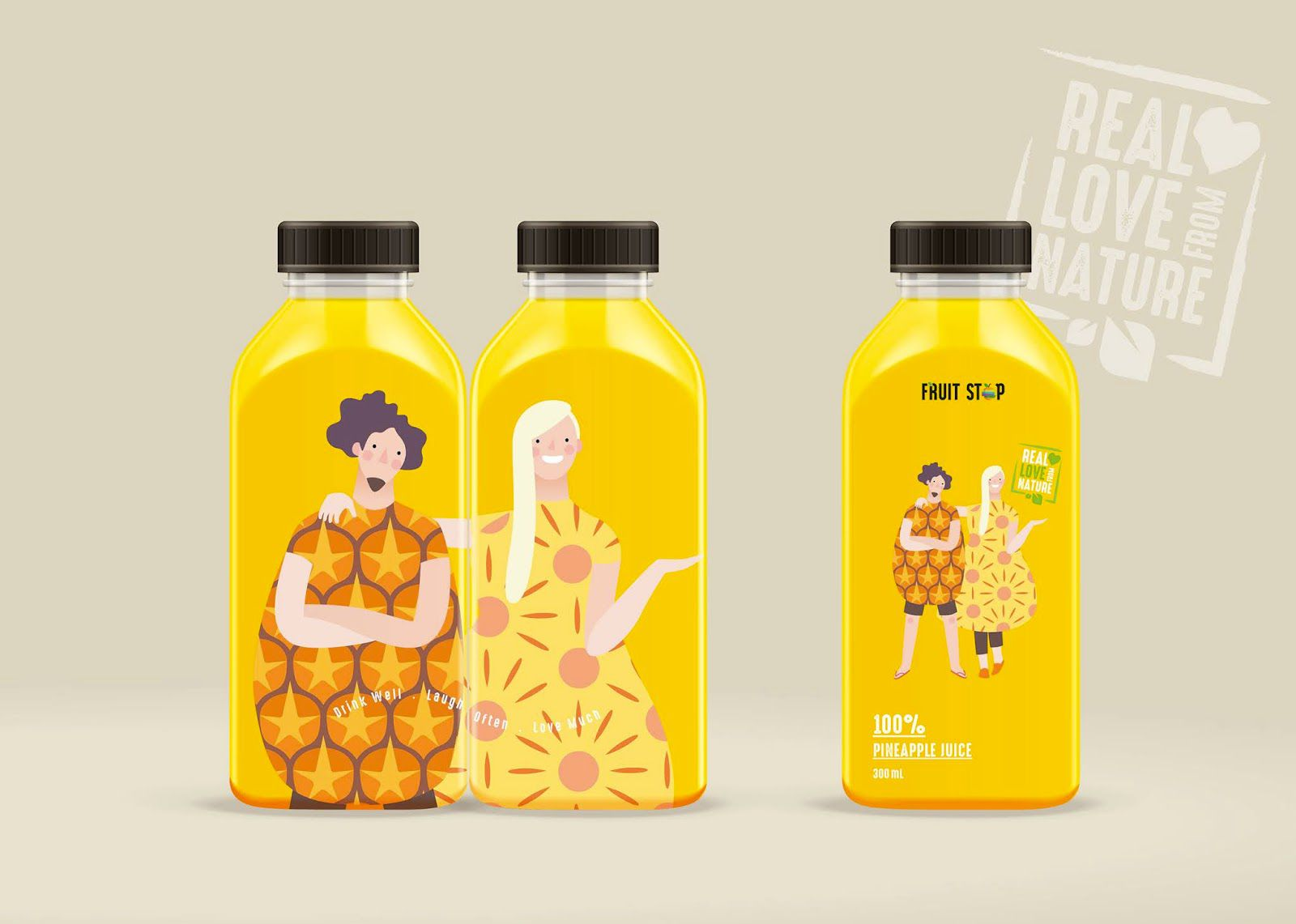 Fruit Stop (jus de fruits) I Design : Wonder Machine Studio, Thaïlande (novembre 2020)
