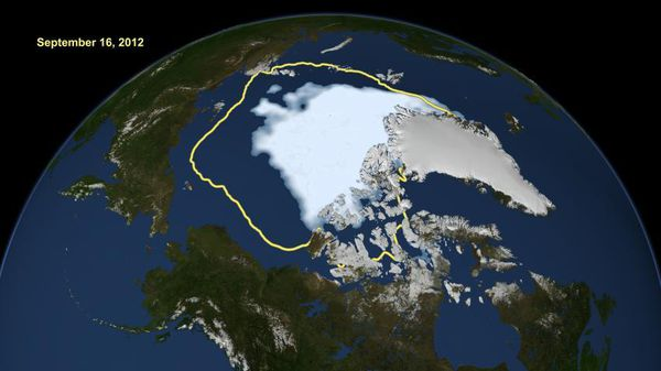 Satellite data reveal how the new record low Arctic sea ice extent, from Sept. 16, 2012, compares to the average minimum extent over the past 30 years (in yellow) Credit: NASA  Read more at: http://phys.org/news/2014-11-emergence-modern-sea-ice-arctic.html#jCp