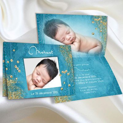 Turquoise et doré, un faire-part oriental de naissance pour petit prince