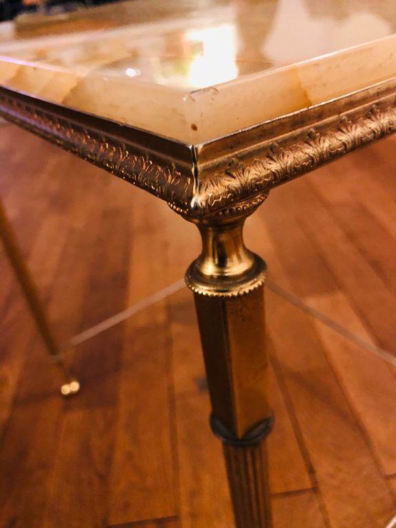 Jolie table d'appoint marbre vert et laiton - vintage