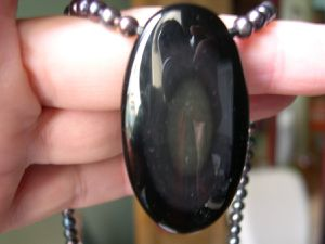 Collier obsidienne.
