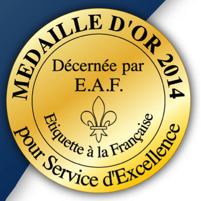 Gold Medal for « Excellence in Service » in the Tourism, Hotel and Restaurant Industries
