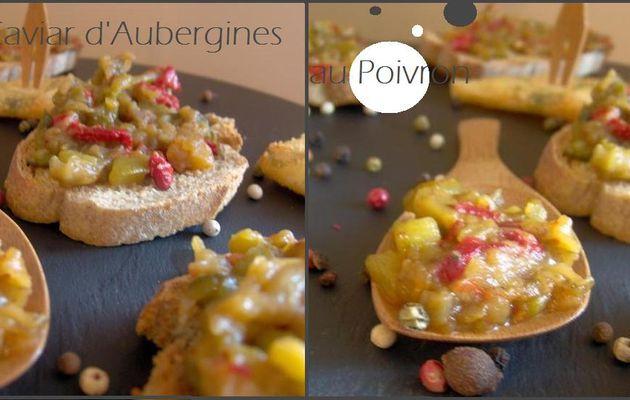 Mise en bouche de caviar d'aubergine au poivron et de bouchées chèvre et ciboulette