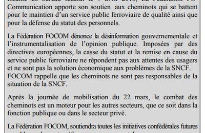 Communiqué N°100 : La Fédération FOCOM soutient les cheminots ...