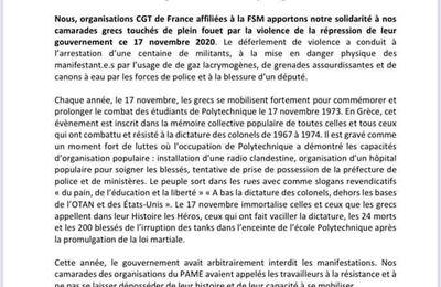 France: Déclaration des organisations CGT affiliées à la FSM
