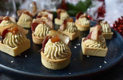 Bouchées mangue, foie gras et magret fumés