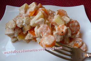 gratin de poulet aux pommes de terre carottes sauce fromage blanc