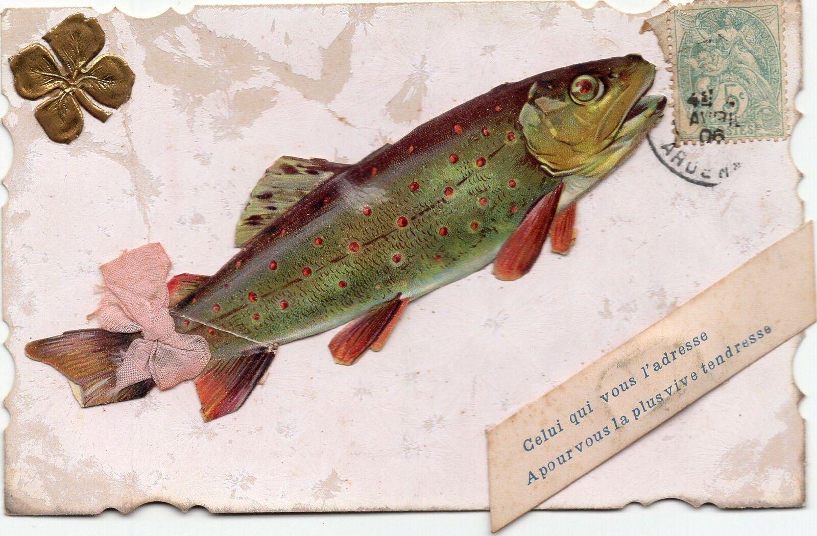 Carte postale ancienne : Poisson d'avril
