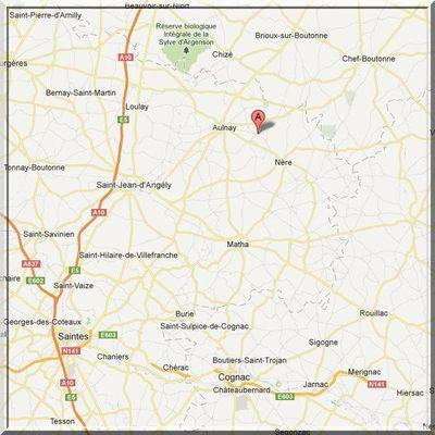 Charente Maritime - Contré - Position église sur carte