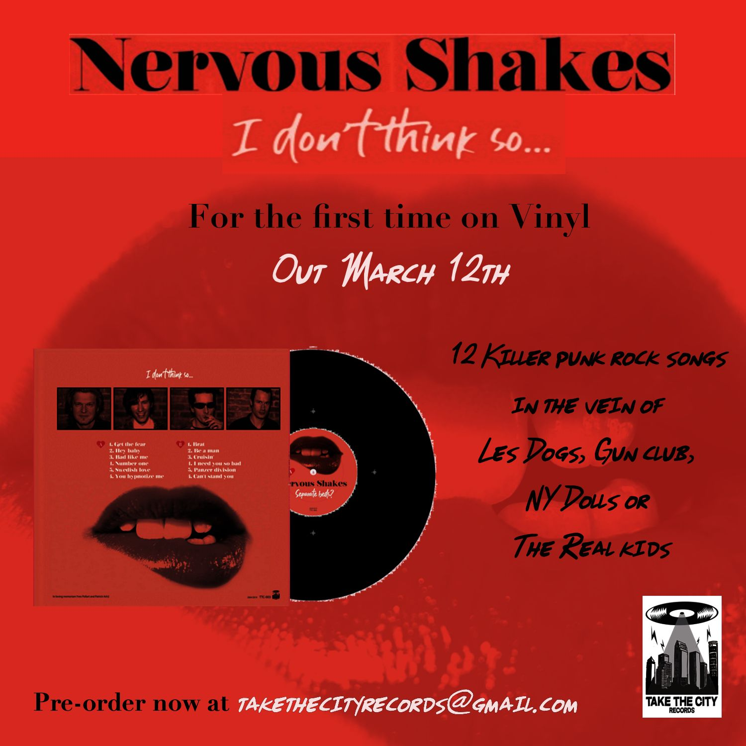 🎵 Vinyl reissue of NERVOUS SHAKES debut album