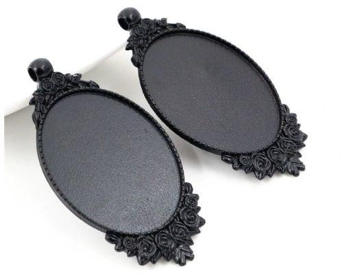 30x40mm,base pendentif noir,collage cabochon oval plat,image verre fimo,fourniture bricolage mercerie,diy bijou gothique victorien boheme,fleur rose feuillage