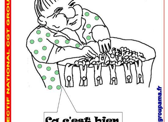 Affiche CGT - La mère Cerise lave l'emploi à Groupama : 1 500 emplois détruits en trois ans - Réagissons -