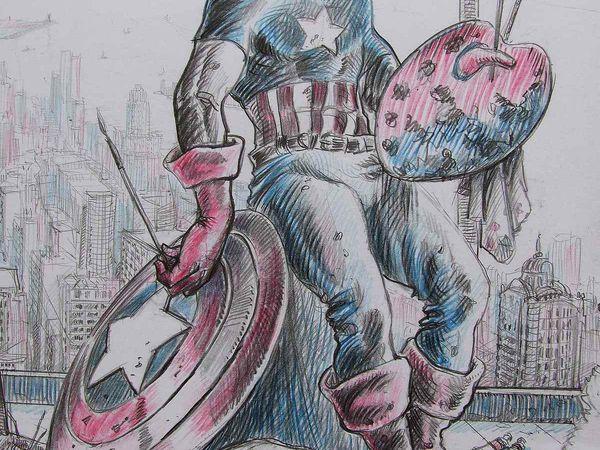 Portrait du peintre en Captain America Détails Crayons sur papier 50x65 Bhavsar