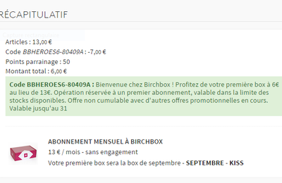 7€ de réduction sur la Birchbox de septembre 2016*