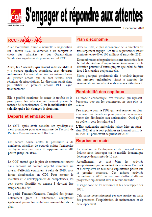 Point sur la signature de l'accord RCC