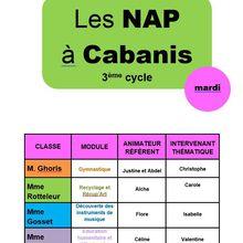 Et voici le planning des NAP pour le second trimestre !