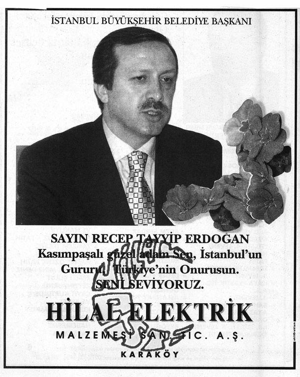 """Annonces parues dans la presse pour soutenir Erdogan, alors maire d'Istanbul, menacé de destitution. Voir l'article dans la série """"Esquisses"""""""