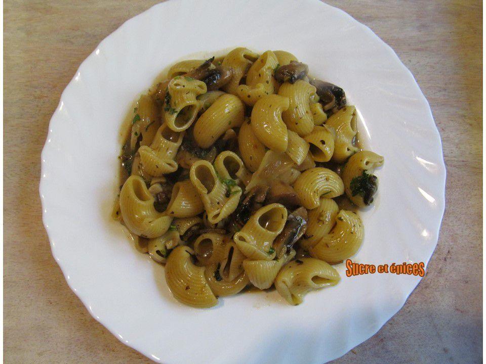 Pâtes aux champignons et à la cancoillotte