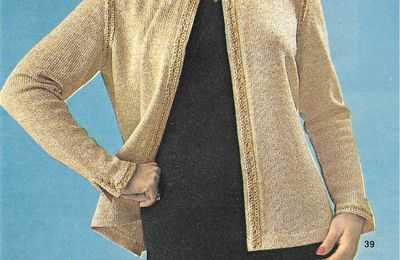 Tricot ; Veste dorée grande taille