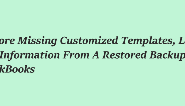 Restore Missing Customized Templates