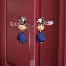 Boucles d'oreilles clips en pierres naturelles. Bijou de créateur. Paris