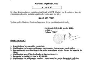 L'ordre du jour du conseil municipal du 27 janvier est disponible